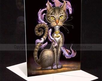 Tabby cat card // Cat greeting card // Grey tabby // Feline Fantasy greeting card