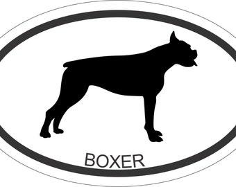 OVAL STICKER Boxer 3.5 x 5.5 Window Bumper Sticker Car Decal Ipad Laptop