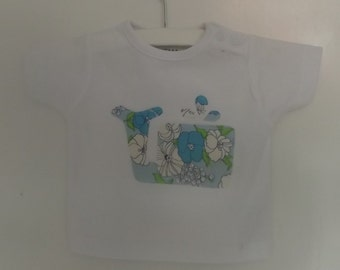 Baby t-shirt with vintage whale, size 56