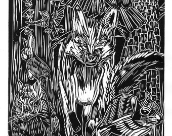 Limited Edition 'The Greedy Fox' Woodcut Print (of 20) Signed & Numbered
