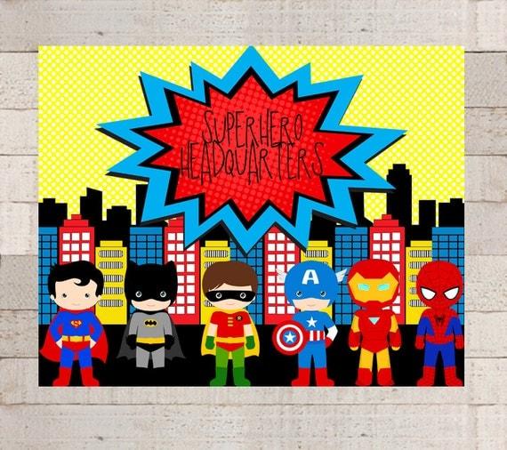 Superhero Classroom Decor Printables : Superhero friends wall art printable by