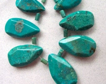SALE  Turquoise  Hand-Cut Faceted Teardrop,  7-piece set.