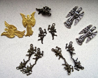 Destash of Angel and Cupid Charms and Stampings