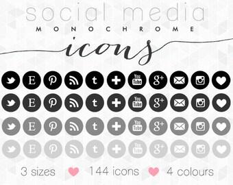 Social Media Icons · Monochrome Set · for Blogger, Wordpress & Web