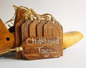 Chalkboard Tags, English Chestnut stained wood gift tags with jute twine, set of 6, reusable tags, stained tags, brown tags, gift tags