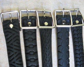 "Recycled Bicycle Tyre Belt.  Belts made from old bicycle tyres. A whole new meaning to ""Recycling"""