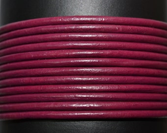Cyclamen / 2mm Leather Cord / leather by the yard / rond leather cord / genuine leather / necklace cord / bracelet cord