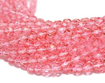 Dipped Decor Pink Czech Glass Beads 6mm - CZ0036 50 pcs