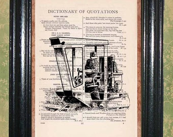 Farmer in a Crop Field Cultivator - Vintage Dictionary Page Art Print Beautiful Upcycled Page Art Wall Decor