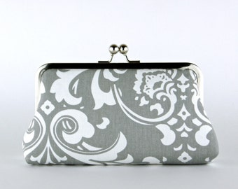 Bridesmaid Clutch, Baroque in Grey Clutch, Silk Lining, Bridesmaid Gift, Wedding clutch, Grey and Yellow collection