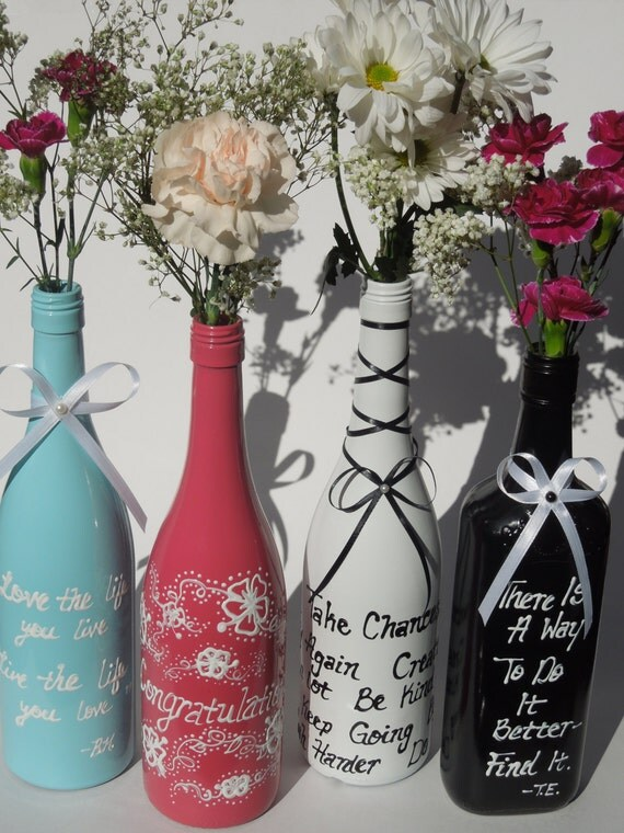 Items similar to pink vase hand painted wine bottle for Painting flowers on wine bottles