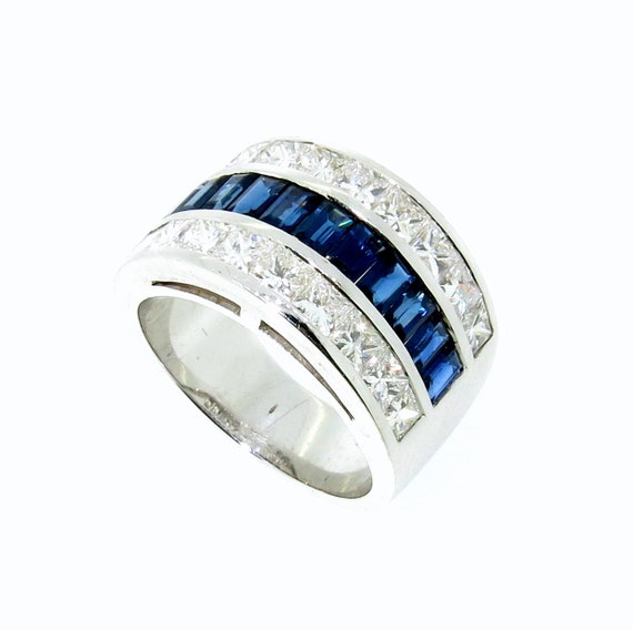 Wide Band Blue Sapphire Gemstone & Diamond Wedding ...