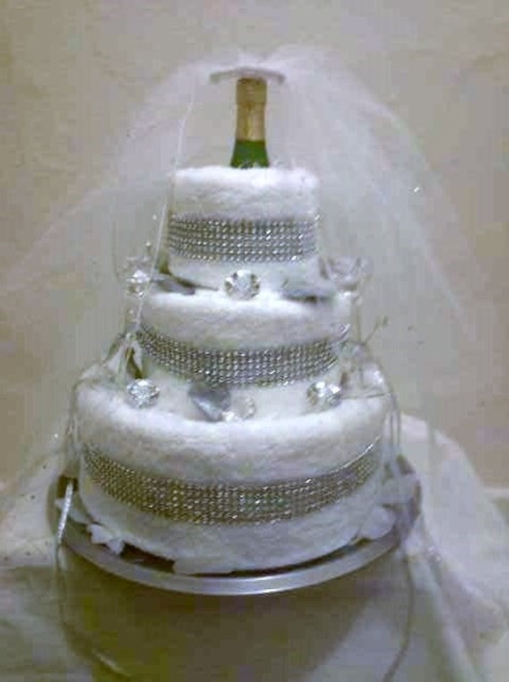 towel wedding cakes items similar to bridal shower 3 tier towel cake 21113