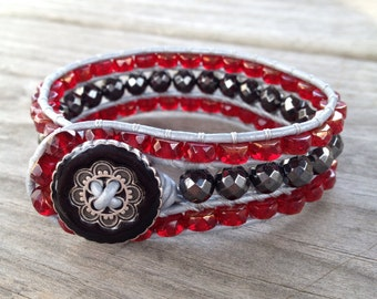 Red and Gray 3-Row Beaded Leather Cuff Bracelet