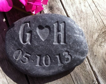 Personalised wedding gift or favour, hand carved into pebbles!