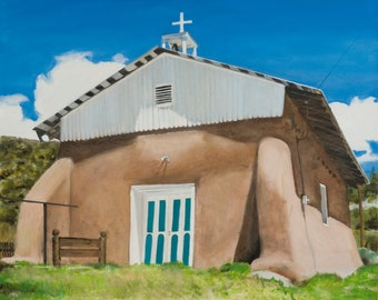 Placita-Peñasco Church Original Oil Painting on Canvas by Santa Fe New Mexico Artist Raquel Underwood (unframed)