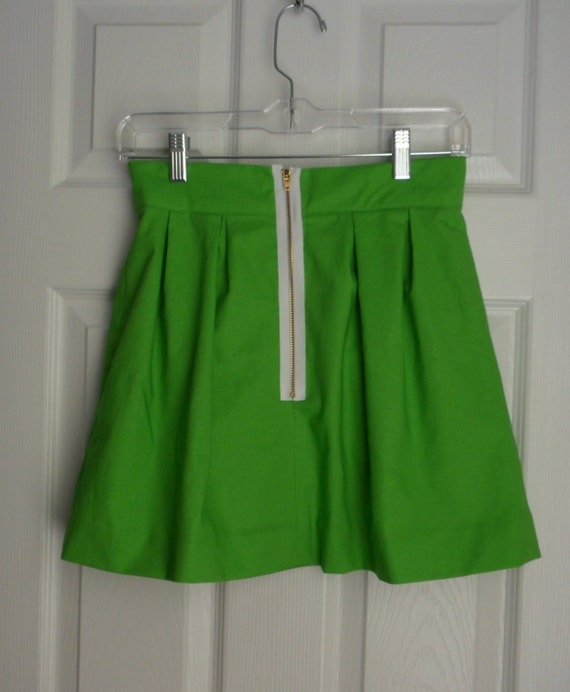 Kathryn Skirt Green with White Zip