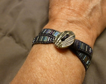 Beatutiful Tila and seed bead double wrap bracelet
