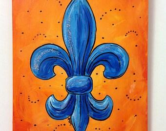 Blue & Orange Fleur de Lis acrylic painting