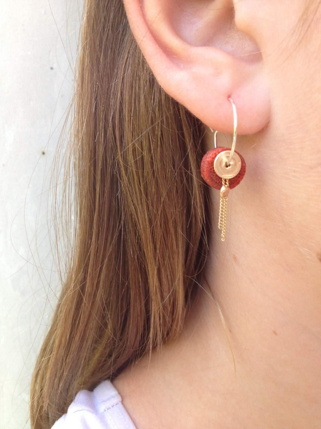 handmade hoop earrings with red coral disk 14k gold filled hoop and hammered disk.