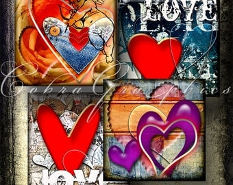 Urban Valentine's - 1x1 inch tiles - Digital Collage Sheet CG-414 for Jewelry, Crafts