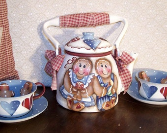 Gingerbread Tea Set  Painting Pattern       instant download