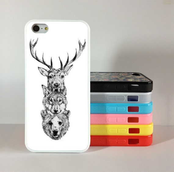 Deer Wolf Bear iphone 5 case,Bear , Deer iphone 4 case, Wolf iphone 4s case, Silicon Rubber cover skin for iphone 4/4g/4s case