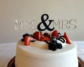 Mrs & Mrs - Modern Wedding Cake Topper With Ampersand Accent