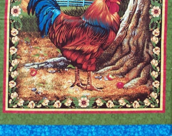 """Rooster cotton panel -- approximately 23"""" x 44"""""""