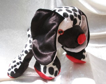 DALMATIAN PUPPY DOG soft toy black and white toy dog plush spotted puppy with red nose Spaniel dog plush unique cuddly puppy handmade ooak