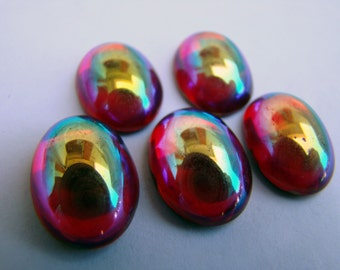 Vintage ruby red glass foiled flat-back cabochon with AB finish  - 13 x 18mm - 5 pieces