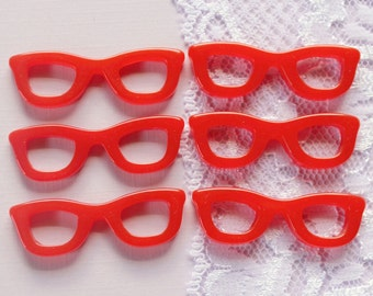 6 Pcs Red Nerdy Glasses - 44x13mm