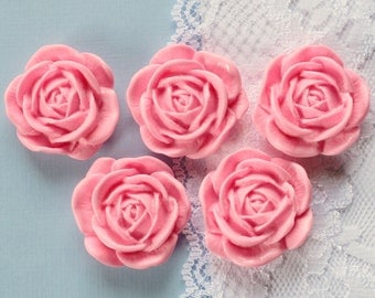 5 Pcs Big Pink Blooming Rose Cabochons -35mm