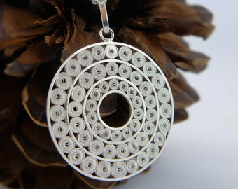 Circles silver filigree necklace, simple wedding jewelry, elegant minimal design