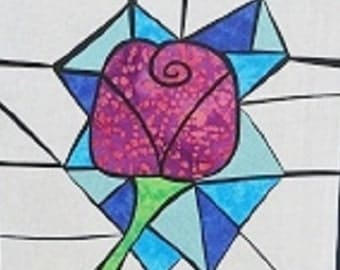 Swirl Rose Stained Glass Quilting Pattern Design