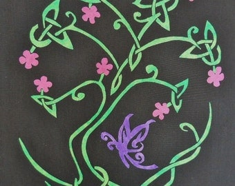Celtic Knot Tree with Butterfly Quilt Applique Pattern Design
