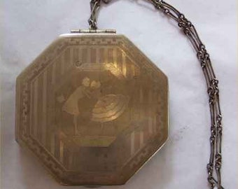 Deco FLIRTY Flapper & Fella Kissing Compact--Scenic Romantic Two-Tone 1920s VANITY Case w/ Chain