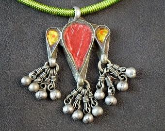Silver Tribal Glass and Foil  Vintage Pendant - Kuchi Gujarat Banjara Gypsy - Red Yellow