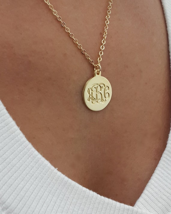 small monogram disc necklace 0 6 inch gold plated gift for