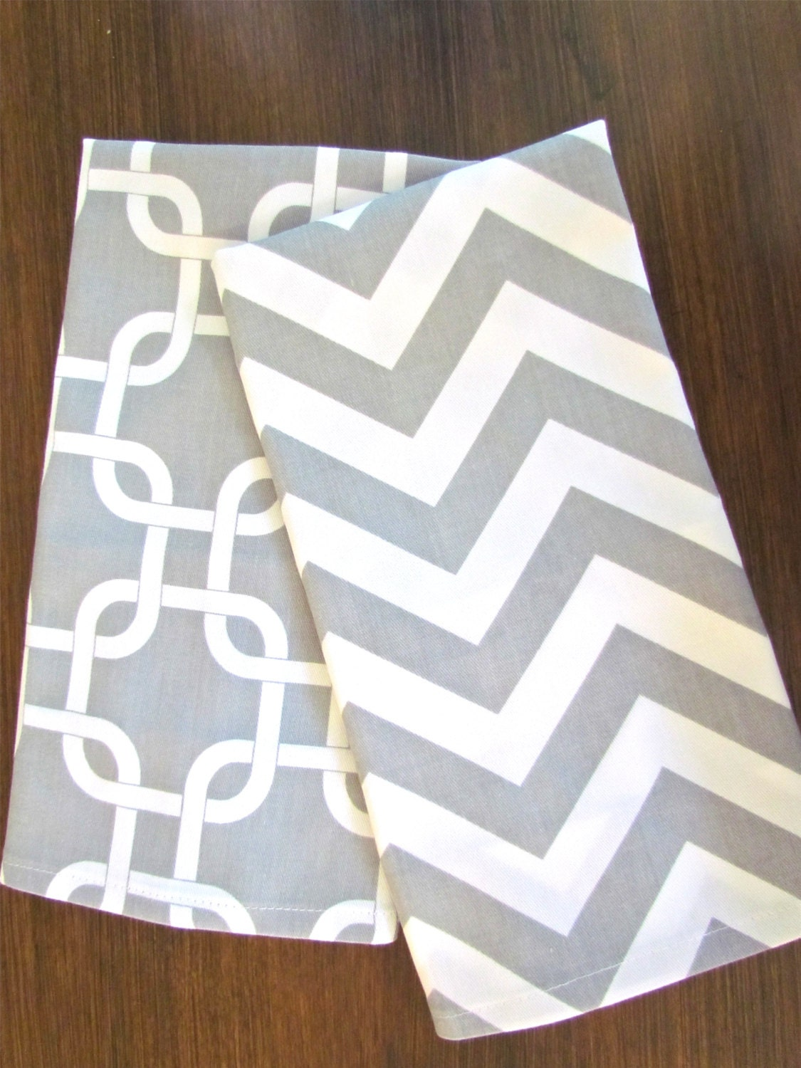 gray chevron tea towels set of 2 chevron tea towel gray hand towels kitchen wedding gifts - Decorative Hand Towels