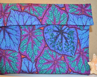 Tablet sleeve universal size made of 100 percent cotton leaf fabric,  lined and padded.  one of a kind handmade