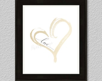 Love inside gold heart - printable. Valentines Day art / home decor / wall art