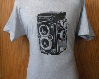 Rolleiflex Twin Lens Reflex Camera Logo T Shirt - Vintage TLR Medium Format Photographer Shirt