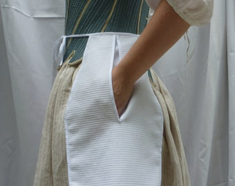 18th Century Hand-Sewn White Cotton Dimity Pocket for Colonial Revolutionary War Reenacting or Historical Costume (ACC-P1)