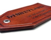 Custom Leather Luggage Tag, GPS Latitude and Longitude Coordinates, Leather Accessory, Personalized Luggage Tag, Leather Bag Tag - Brown