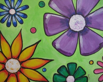 "Bright, Fun Flower Painting, Lime green, purple, yellow and pink - ""Anika's Flowers"""