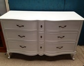 French Provincial Dresser painted white.
