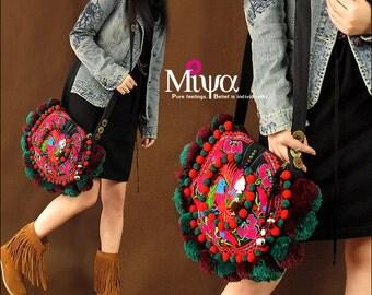 Miya's Original Ethnic Hmong Embroidered Bag  Purse Shoulderbag - Sunny Mood