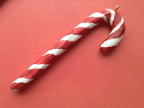 Candy cane carving, sugar cane, candy cane, wood carving, hand carved, christmas, ornament, tree ornament, gift, ooak, hand painted, for her