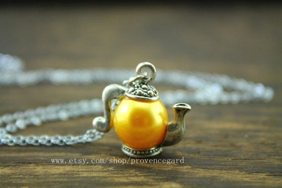 the Teapot necklace Alice in Wonderland jewelry